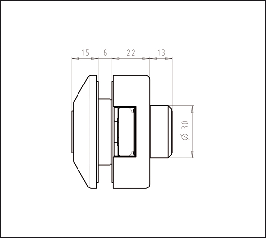 Glastürschloss Studio Private Line eckig unverschließbar