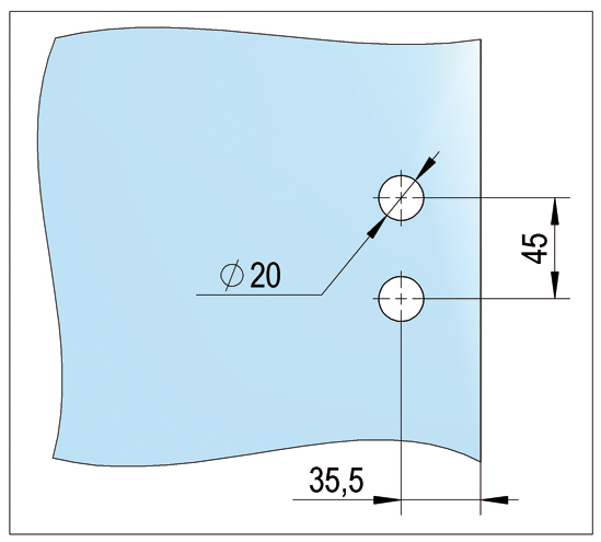 Glass Door Hinge Alea 3-part with sleeve