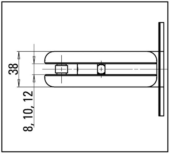 Pendeltürband Selco Glas-Wand 90° beidseitige Wandmontage