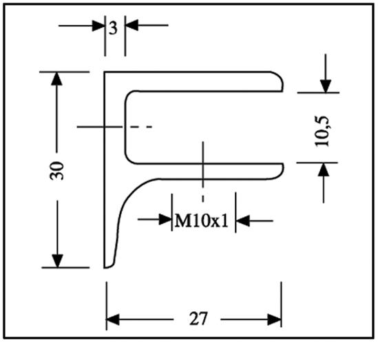 Supporto per Ripiani di Vetro rettangolare 30 x 30 mm con supporto