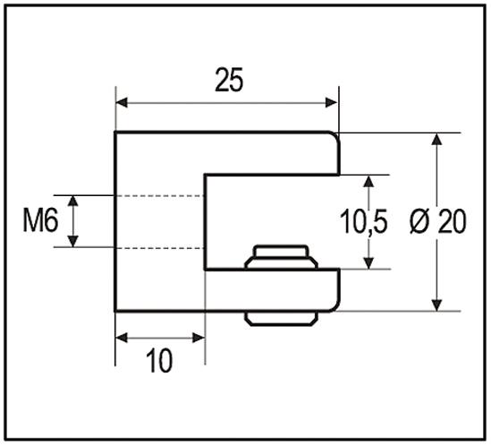 Glass Shelf Support cylindrical ø 13/16 x 1