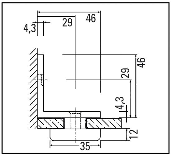 Raccord d'angle verre-mur 90°