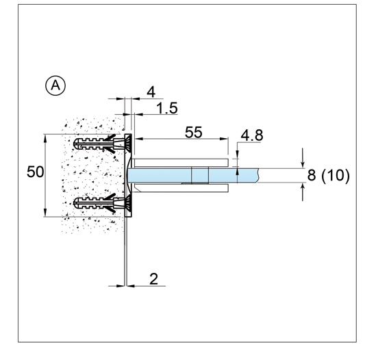 Duschtürband Bilbao Premium Glas-Wand 90° beidseitige Wandmontage