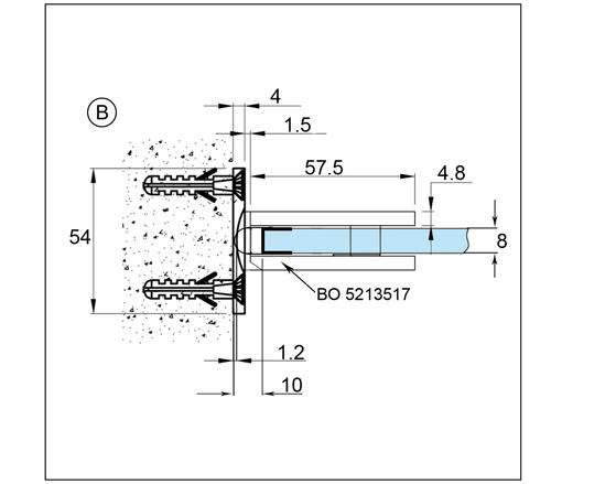 Duschtürband Bilbao Premium HD Glas-Wand 90° beidseitige Wandmontage