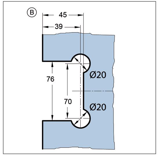 Duschtürband Bilbao Premium HD Glas-Wand 90° einseitige Wandmontage