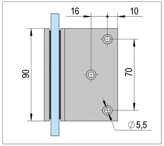 Winkelverbinder Bilbao Glas-Wand 90°