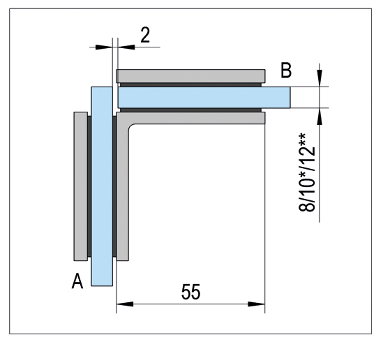 Corner Clamp Bilbao glass/glass 90°