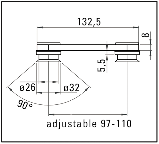 Side Connector glass/glass 180°