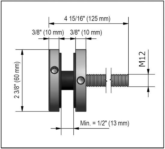Single Point Fixings ø 60 mm with Threaded rod