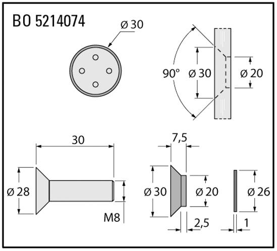 Punthouders ø 20 mm rechtlijnig