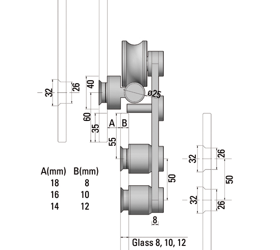 SlideTec Premium Set Glaswandmontage