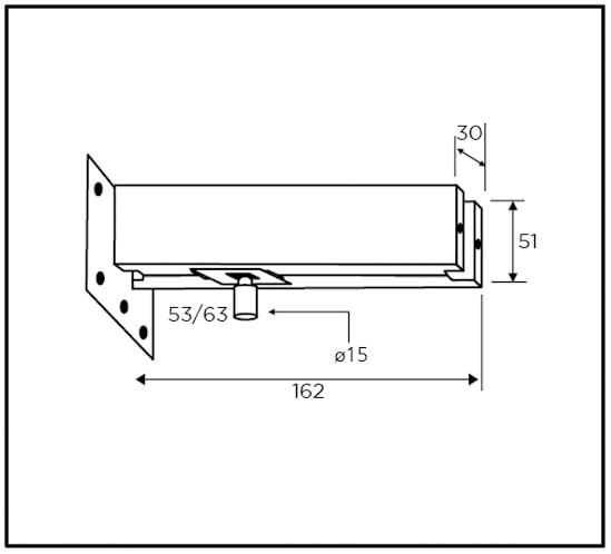 Oberlichtbeschlag mit Anschraubplatte PT30.3