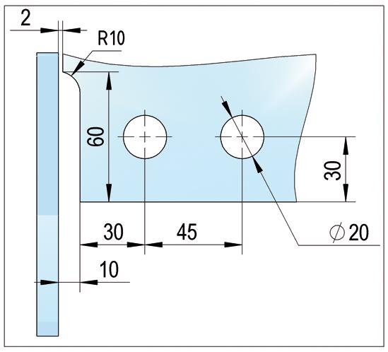 Winkel Oberlichtbeschlag links mit einseitiger Aussteifung PT41
