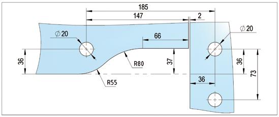 Winkel Oberlichtbeschlag rechts mit einseitiger Aussteifung PT41