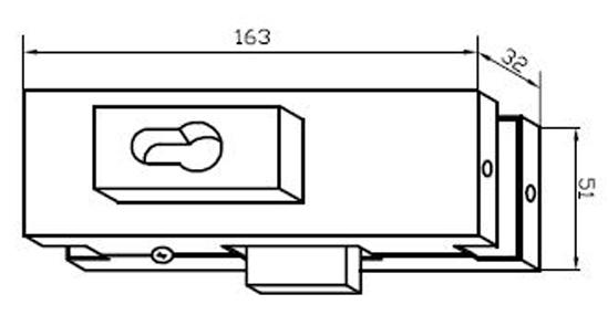 Mittelschloss mit Flachriegel US20