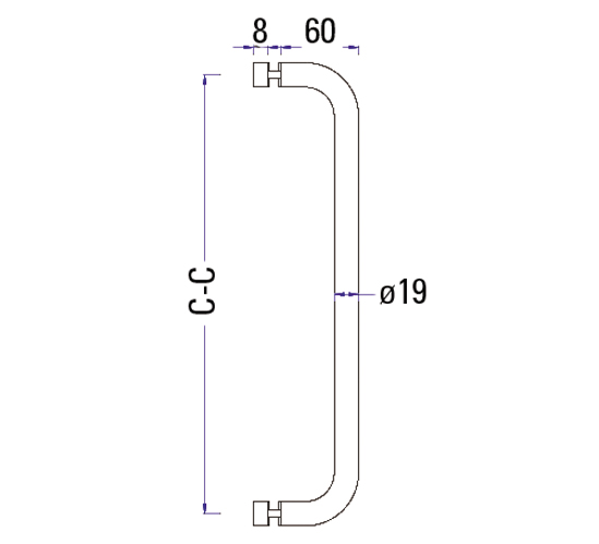 Duschtürgriff einseitig mit Knopf