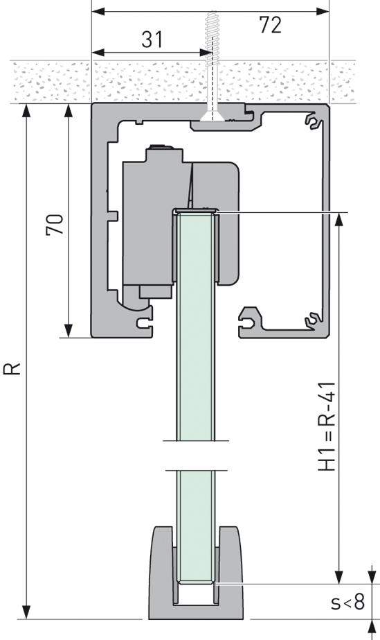 Portavant 80 automatic Set Deckenmontage 1-flügelig