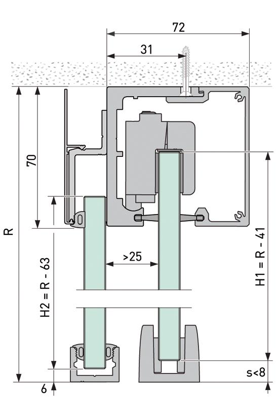 Portavant 80 automatic Festverglasungsprofil Deckenmontage