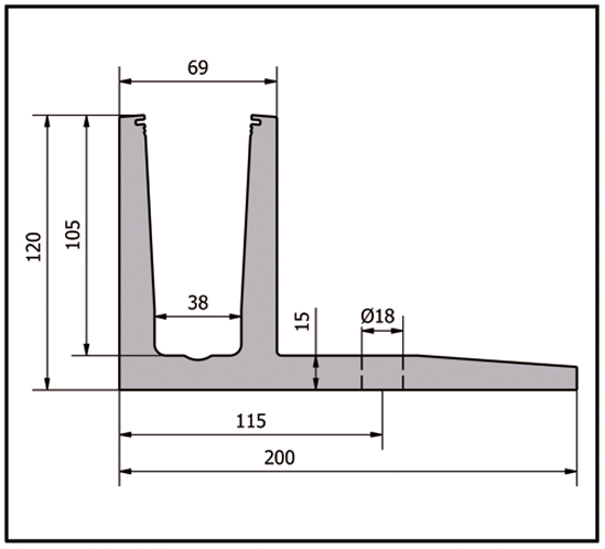 EasyMount Top L Bodenmontageprofil mit Winkel 2,0 kN