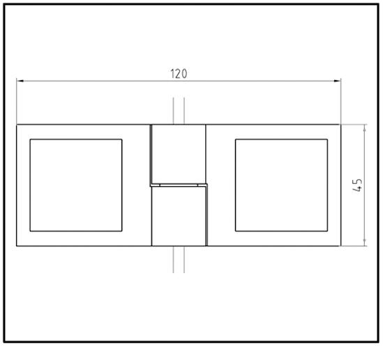 Duschtürband Plan square Glas-Glas 135° DIN rechts