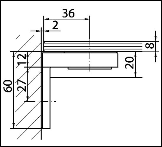 Winkelverbinder Plan square Glas-Wand 90° Anschraubplatte außen