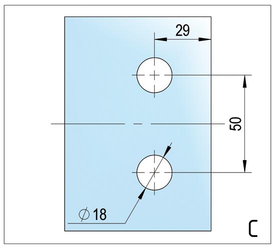 Bisagra Madrid con Mecanismo de subida y bajada vidrio / vidrio 180° abre hacia afuera
