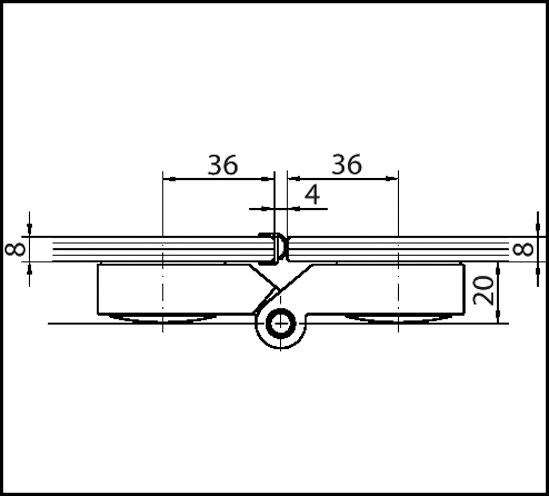 Duschtürband Plan curvum Glas-Glas 180° / 135°