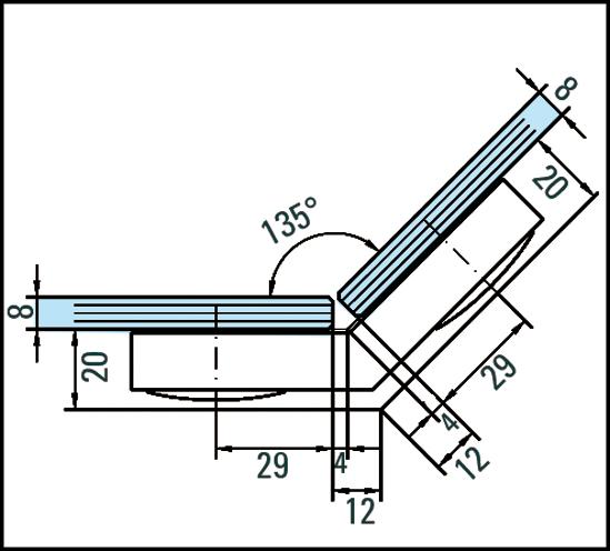 Winkelverbinder Plan artist Glas-Glas 135°
