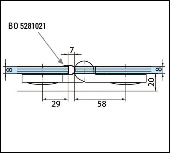 Duschtürband Plan artist Glas-Glas 180° DIN links