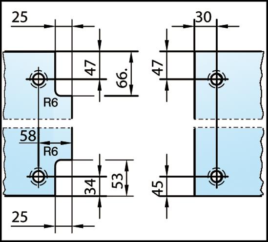 Duschtürband Plan artist Glas-Glas 135° DIN rechts