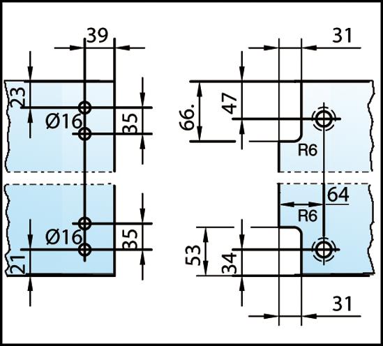 Duschtürband Plan artist Glas-Glas 90° DIN links