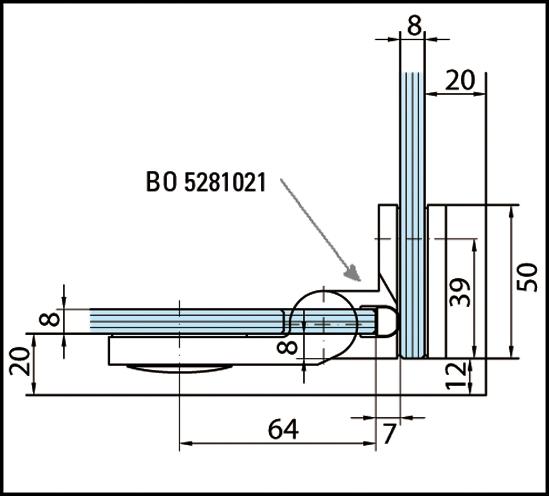 Duschtürband Plan artist Glas-Glas 90° DIN rechts