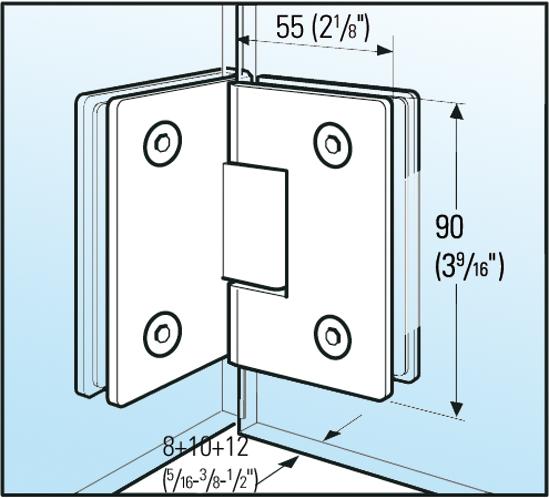 Duschtürband Bilbao Glas-Glas 90°