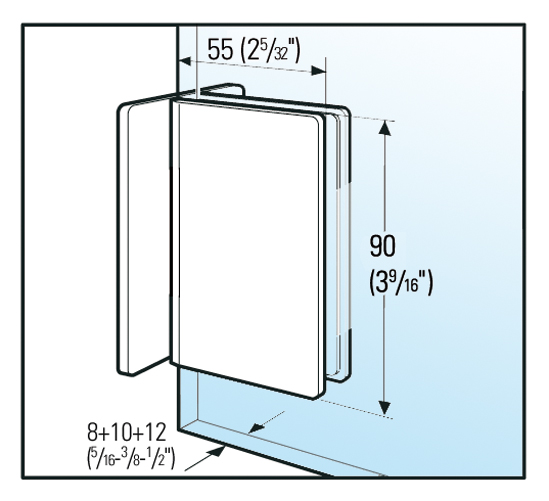 Klemmträger Bilbao Glas-Wand 90°