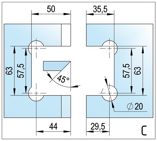 Duschtürband Barcelona Select Glas-Glas 135°