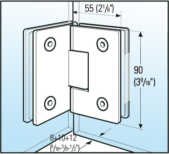 Duschtürband Barcelona Glas-Glas 90°