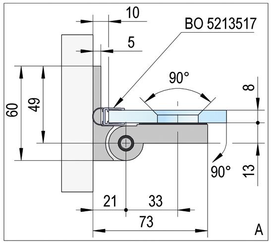 Duschtürband Lugo Glas-Wand 90° nach außen öffnend DIN links