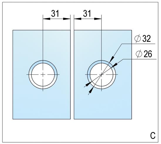 Duschtürband Lugo Glas-Glas 180° nach außen öffnend DIN rechts
