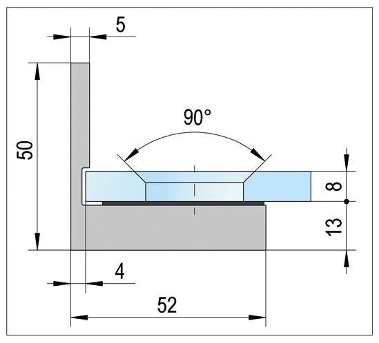 Winkelverbinder Lugo Glas-Wand 90°