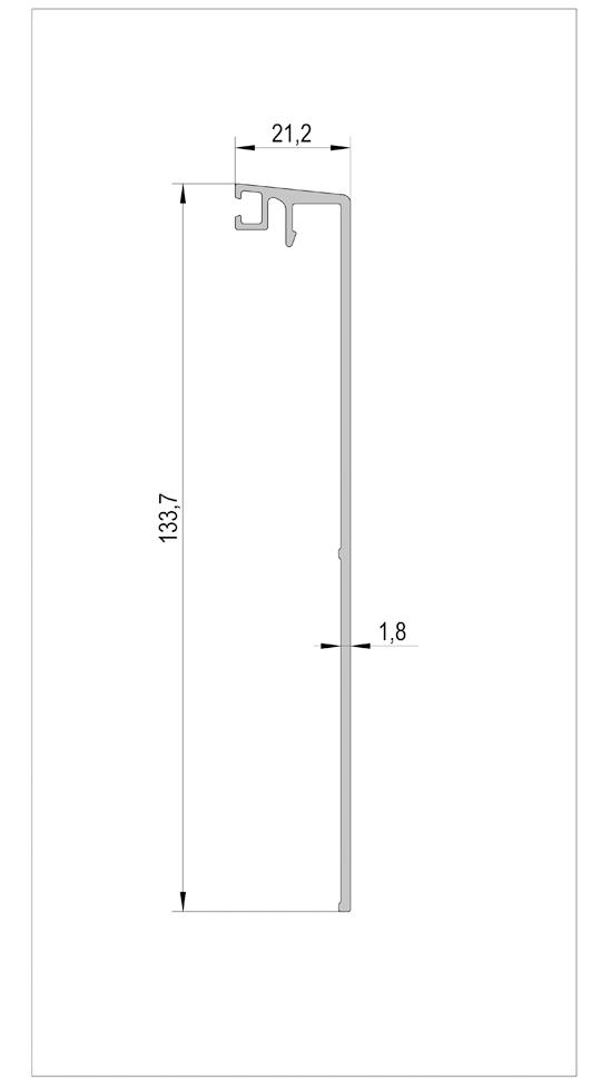 VetroMount® Täckprofil sidohängt för Utanpåliggande montering