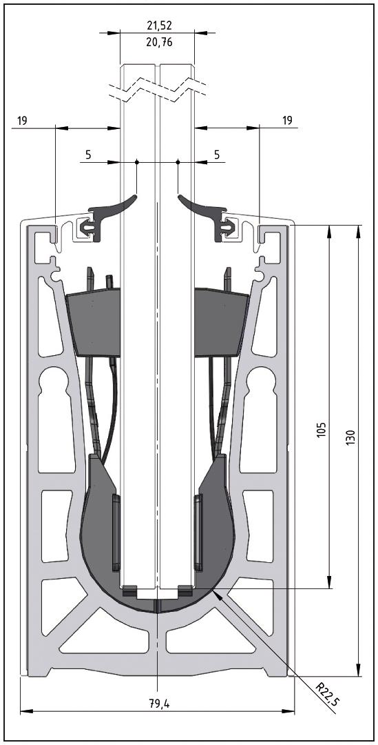 VetroMount Juego de montaje para Versión con Perfil de cubierta con función de clip 2500 mm