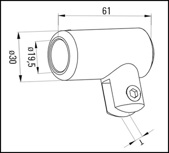 Glasanschluss verstellbar Bohle round ø19 für 6 - 8 mm