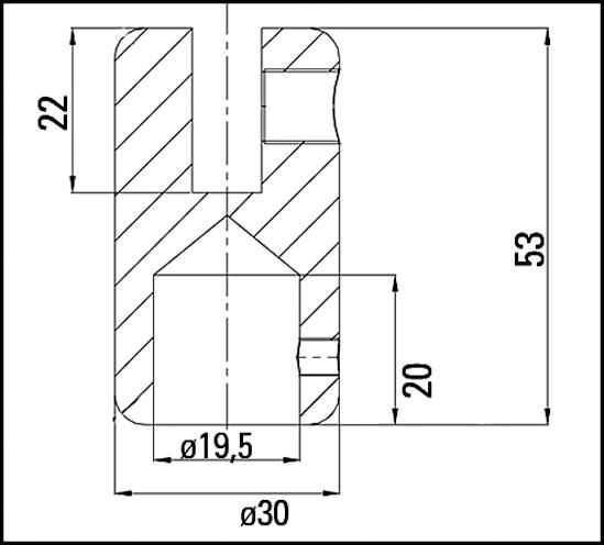Verbinder 180° Bohle round ø19 für 6 - 8 mm