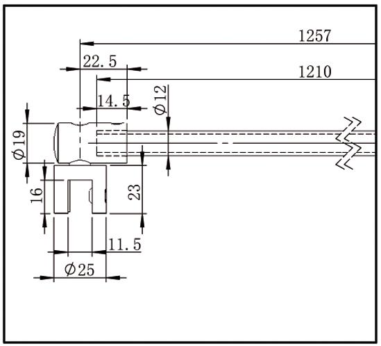 Reinforcement Bar Set Bohle round ø12 glass/wall 90°
