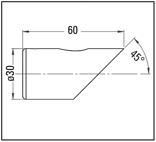 Wandanschluss 45° Bohle round ø19