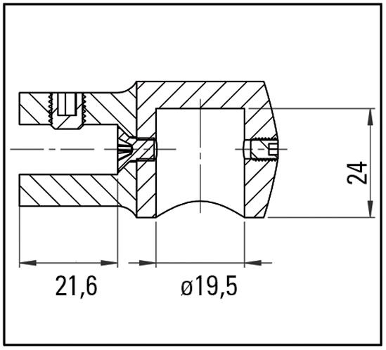 Glasanschluss verstellbar Bohle round ø19