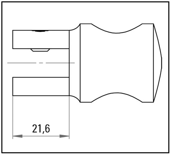 Verbinder mit Glasanschluss Bohle round ø19