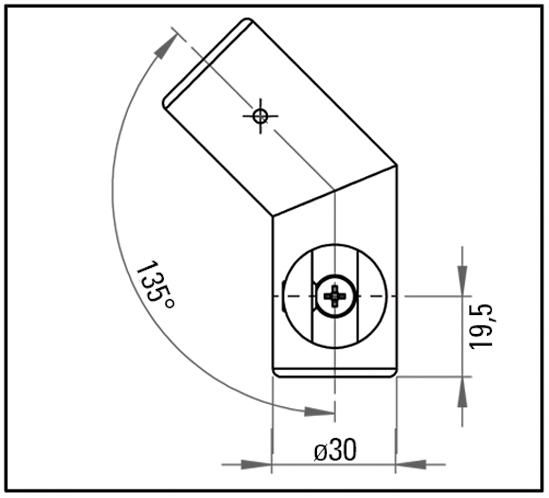 Eckverbinder 135° mit Glasanschluss Bohle round ø19