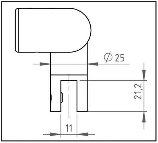Eckverbinder 90° mit Glasanschluss Bohle round ø19