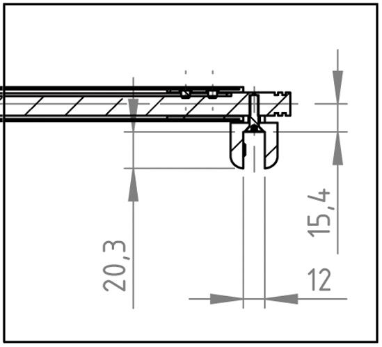 Teleskop-Stabilisierungsstange Set Bohle round ø19 Glas-Wand 90°